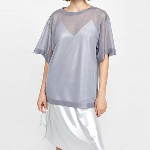 Zara Knit Sheer Oversized Silver Top Large